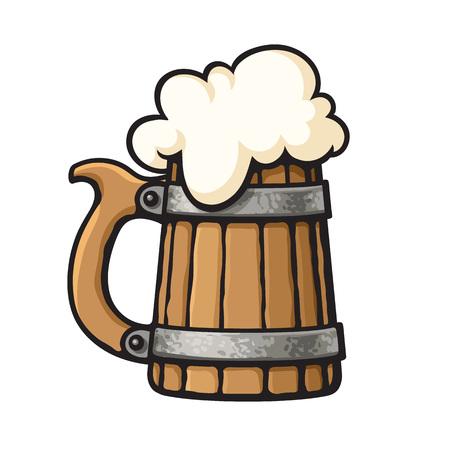 Cartoon old wooden beer mug with foam. Design element for brewery, beer festival, bar, pub. Hand drawn vector illustration.