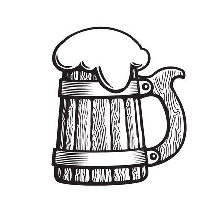 Old wooden beer mug with foam. Hand drawn vector illustration isolated on white background.