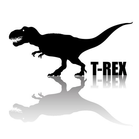 Tirannosauro Rex. Silhouette con riflesso trasparente. dinosauro anivoro. T rex che cammina e ruggisce. Illustrazione vettoriale disegnato a mano. Vettoriali