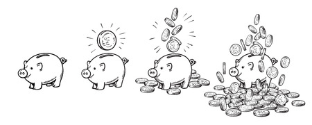 Cartoon piggy bank set. Empty, with one coin, with falling coins, heaped over money. Wealth and success concept. hand drawn vector illustration. Stock Photo