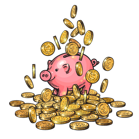 Cartoon piggy bank among falling coins on big pile of money. 2019 Chinese New Yea symbol. Hand drawn vector.