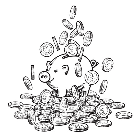 Cartoon piggy bank among falling coins on big pile of money. 2019 Chinese New Yea symbol. Black and white sketch. Hand drawn vector. Stock Photo