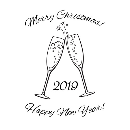 Two glasses of champagne. 2019 Merry Christmas and Happy New Year text. Hand drawn vector illustration.