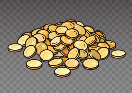 Cartoon pile of gold coins isolated on transparent background. Heap of money. Hand drawn vector illustration.