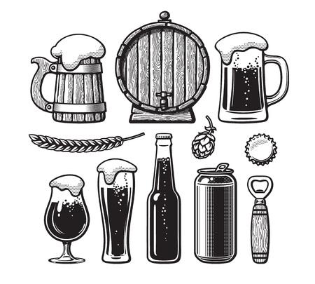 Vintage set of beer objects. Old wooden mug, barrel, glasses, hop, bottle, can, opener, cap. Hand drawn engraving style vector illustration. Illustration