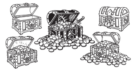 Set of pirate treasure chests in sketch style open and closed, empty and full of gold coins and jewelry. Hand drawn vector illustration isolated on white background. 写真素材 - 127669888
