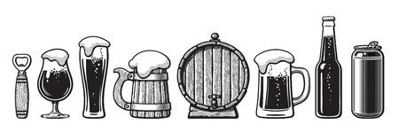 Set of beer objects. Bottle opener, glasses, old wooden mug, barrel, can. Vector illustration. Illustration