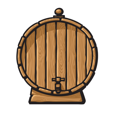 Cartoon old wooden barrel with tap. Hand drawn vector illustration isolated on white background. Front view of beer, wine, rum whiskey traditional barrel.