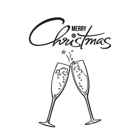 Merry Christmas text. Two glasses of champagne. Retro style vector illustration.