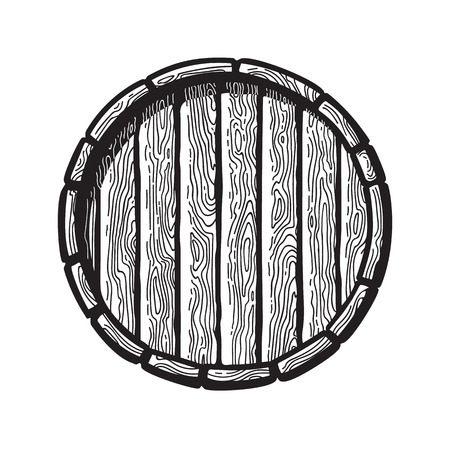 Old wooden barrel in engraving style. Top view of beer, wine, rum whiskey traditional barrel. Vector illustrations. Ilustração