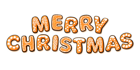 Merry Christmas text composed of gingerbread cookies. Cartoon hand drawn letters. Vector illustration isolated on white background. Christmas greeting card, banner design element.  イラスト・ベクター素材