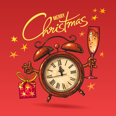 Christmas Greeting Card. Cartoon alarm clock holding glass of champagne and gift. Merry Christmas lettering. Hand drawn vector illustration isolated on red background.  イラスト・ベクター素材