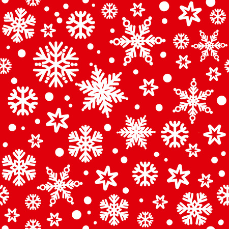 Traditional Christmas seamless pattern with white snowflakes falling on red bakground. Vector illustration. 写真素材 - 127669893
