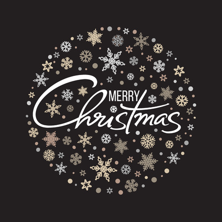 Merry Christmas handwritten lettering. White text on background of circle of snowflakes. Vector.