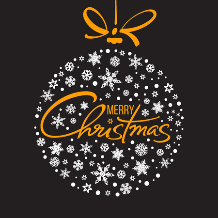 Merry Christmas handwritten lettering. Golden text with white snowflakes in shape of Christmas ball isolated on black background. Vector.