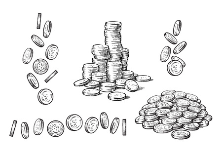 Set of coins in different positions in sketch style. Falling dollars, pile of cash, stack of money. Black and white finance, money set. Hand drawn Vector collection isolated on white background.