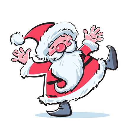 Funny cartoon Santa Claus dancing. Merry Christmas text. For greeting card, holiday invitations, posters, banners, templates. Hand drawn sketch style vector illustration isolated on white background.