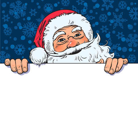 Cartoon Santa Claus holding blank, empty board with place for text. Vintage Santa peeping from behind a white poster. Christmas ,new year design. Sketch style hand drawn vector illustration.