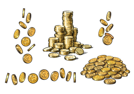 Set of gold coins in different positions in sketch style. Falling dollars, pile of cash, stack of money. Hand drawn Vector collection isolated on white background.