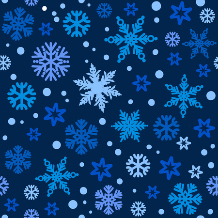 Christmas seamless pattern with different shades of blue snowflakes falling on dark night sky bakground. Vector illustration. 写真素材 - 127669900