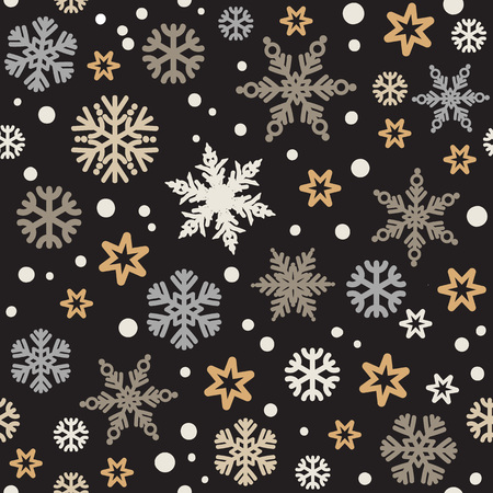 Christmas seamless pattern with silver and gold snowflakes isolated on black background. Vector illustration.  イラスト・ベクター素材
