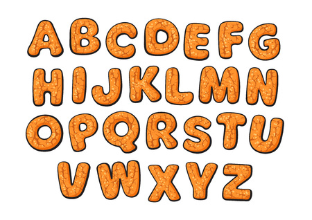 Christmas and New Year gingerbread cookies alphabet. Cartoon hand drawn letters. Vector illustration.