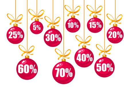 Set of discount tags 10,15,20,25,30,40,50,60,70 percent off in the shape of red Christmas balls hanging on a golden ribbons. Vector illustration isolated on white. Illustration
