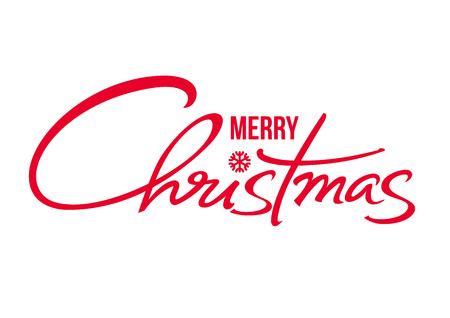 Merry Christmas text. Calligraphic hand drawn lettering design. Vector typography red letters isolated on white. Illustration
