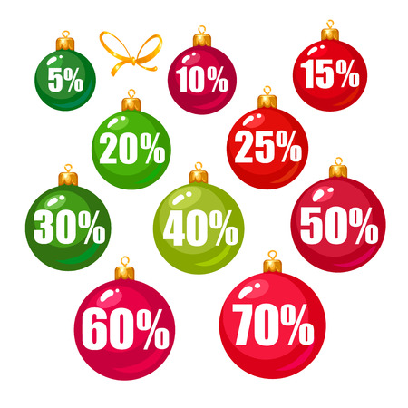 Set of discount tags 10,15,20,25,30,40,50,60,70 percent off in the shape of Christmas balls. Winter holiday discount offer. Vector illustration isolated on white.