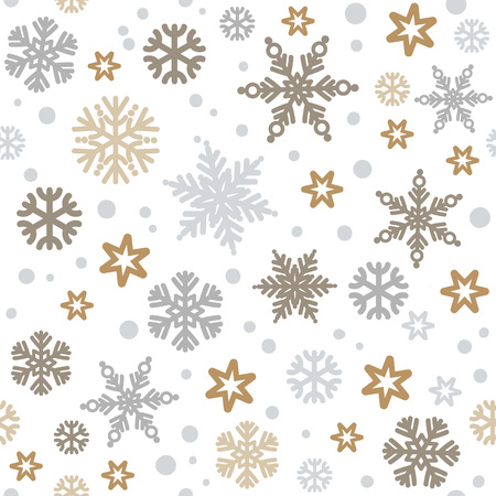 Christmas seamless pattern with silver and gold snowflakes isolated on white background. Vector illustration.
