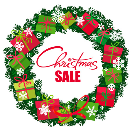 Christmas sale poster. Wreath with gift boxes and snowflakes. Handwritten lattering. Vector.
