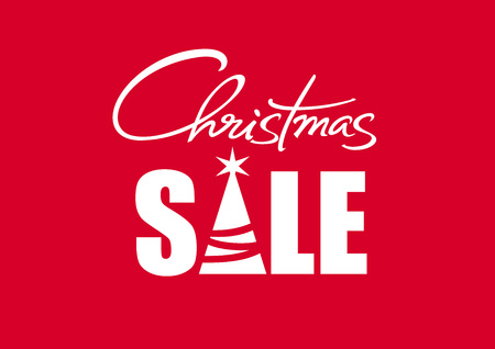 Christmas sale poster with handwritten lettering. White text with fir tree silhoiette isolated on red background. Vector illustration. Illustration