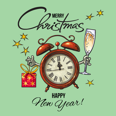 Vintage Happy New Year, Merry Christmas greeting card. Alarm clock holding glass of champagne and gift box. Cartoon hand drawn vector illustration.
