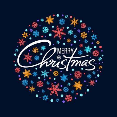 Merry Christmas handwritten lettering. White text on background of circle of snowflakes.Christmas typography isolated on black. Vector.
