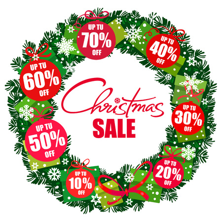 Christmas sale poster. Wreath with discount tags 10,20,30,40,50,60,70 percent off. Handwritten lattering. Vector.
