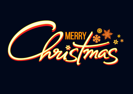 Merry Christmas handwritten lettering. Shining text with snowflakes isolated on black background. Christmas holidays typography in retro style. Vector. Illustration