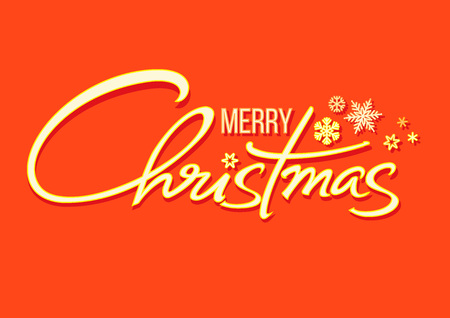 Christmas holidays typography in retro style. Merry Christmas handwritten lettering. Shining text with snowflakes isolated on red orange background. Vector. Illustration