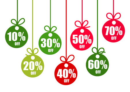 Set of discount tags 10,20,30,40,50,60,70 percent off in the shape of Christmas balls in traditional colors. Winter holiday discount offer. Vector illustration. Illustration
