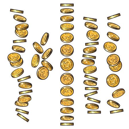 Ensemble de pièces d'or tombant dans différentes perspectives, angles, directions dans le style de croquis. Lâcher des dollars, des tas d'argent, des tas d'argent. Jeu de finance de dessin animé. Illustration vectorielle isolée dessinée à la main. Vecteurs