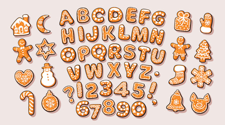 Christmas and New Year gingerbread alphabet and cute traditional holiday cookies. Sugar coated letters and numbers. Cartoon hand drawn isolated vector. Stock Photo