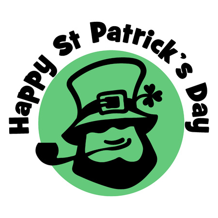 Happy Saint Patrick s Day logo. Leprechaun face with hat, pipe, and cloveron the traditional green background. Hand drawn vector illustration.