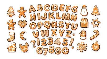 Alphabet de pain d'épice de Noël et du Nouvel An et de jolis biscuits traditionnels de vacances. Lettres et chiffres enrobés de sucre. Illustration de vecteur de dessin animé dessinés à la main isolé sur fond blanc.