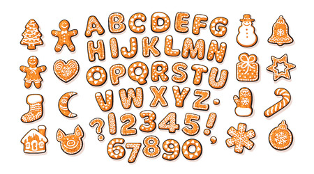 Christmas and New Year gingerbread alphabet and cute traditional holiday cookies. Sugar coated letters and numbers. Cartoon hand drawn vector illustration isolated on white background. Stock Illustratie