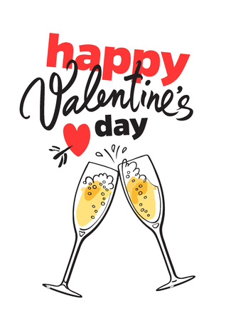 Happy Valentine s Day card with handwritten lettering, red heart pierced by arrow and two glasses of champagne isolated on white background. Vector illustration. Stock Photo