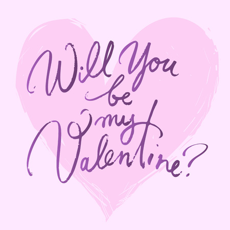 Will you be my Valentine. Valentines day card with hand written brush lettering on pink heart background. Hand drawn calligraphy . Stock Photo