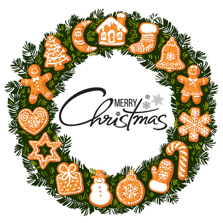 Merry Christmas lettering in center of wreath with gingerbread cookies. Round frame from traditional holiday cookies. Cartoon vector illustration.