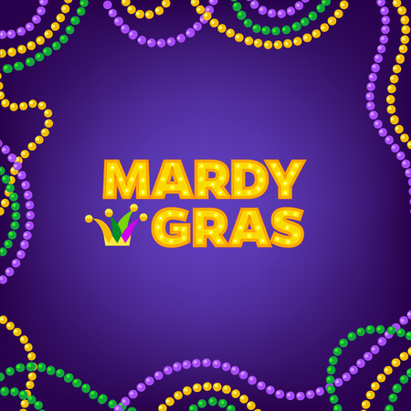 Mardi Gras carnival background with colorfull beads frame. Text with Jesters hat. Vector illustration Isolated on purple.