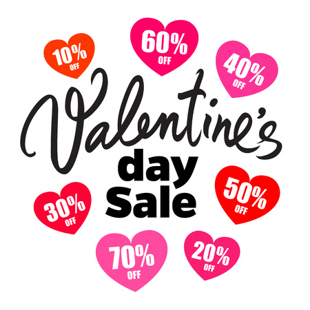 Valentines Day sale poster. Handwritten lettering. Set of discount tags 10,20,30,40,50,60,70 percent off in the shape of hearts. Holiday offer. Vector illustration.