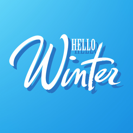Hello winter typography. Hand written lettering. White text isolated on blue background. Winter holidays calligraphy vector.