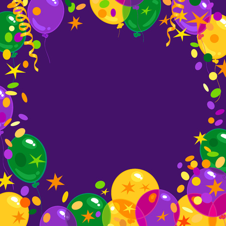 Mardi Gras carnival background with colorfull flying balloons, confetti, serpentine frame with place for text. Isolated vector illustration. Illustration